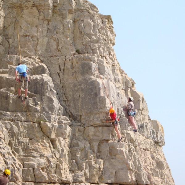 Limestone rock climbing
