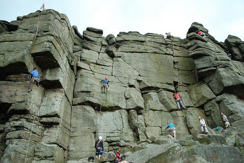 stanage climbing